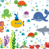 Submarine Under The Sea Wall Decals