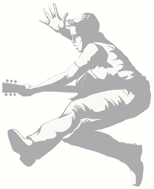 Sudden Shadows Guitar Hero Guy Wall Sticker - Kids Wall Decor Store