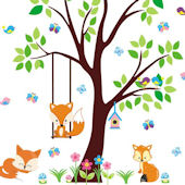 Swinging Baby Fox Wall Decals