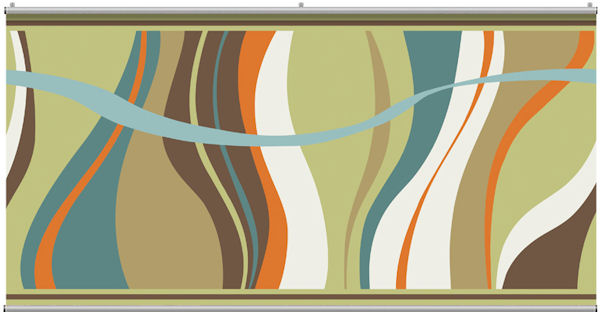 Groovy Waves Teal Minute Mural - Wall Sticker Outlet