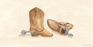 Childs Cowboy Boots Wall Canvas Art - Wall Sticker Outlet