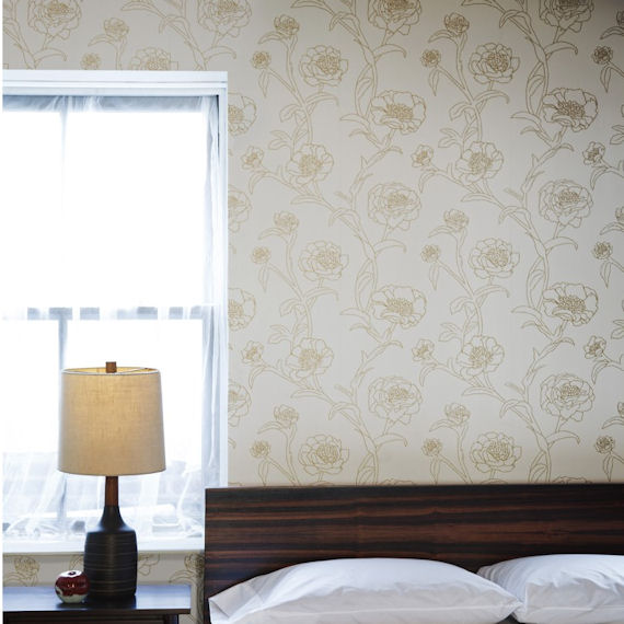 Peonies Gold Leaf Peel And Stick Wallpaper