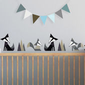 Foxes Blue Fabric Peel And Stick Wall Decals