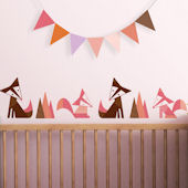 Foxes Pink Fabric Peel And Stick Wall Decals