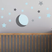 Moon And Stars Fabric Peel And Stick Wall Decals