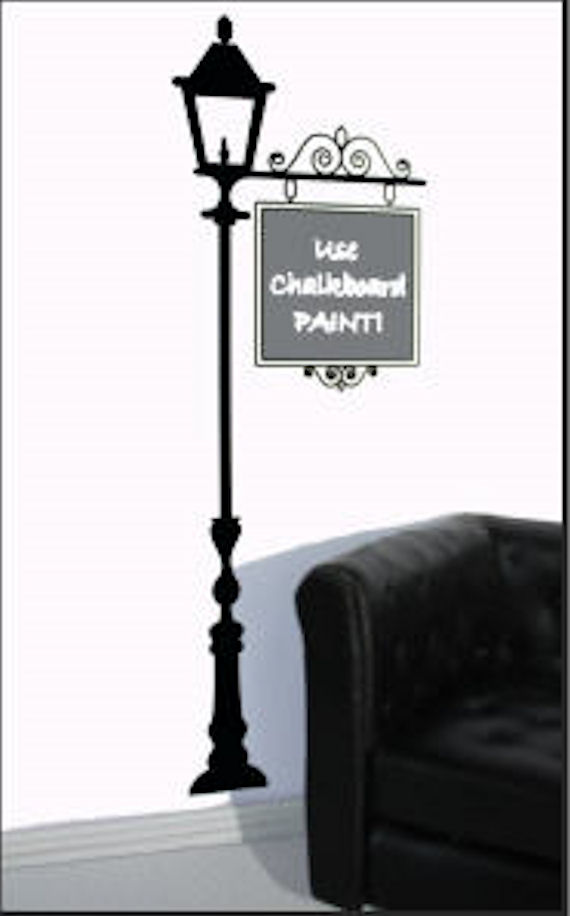 Chalkboard Lamp Post Traceable Mural