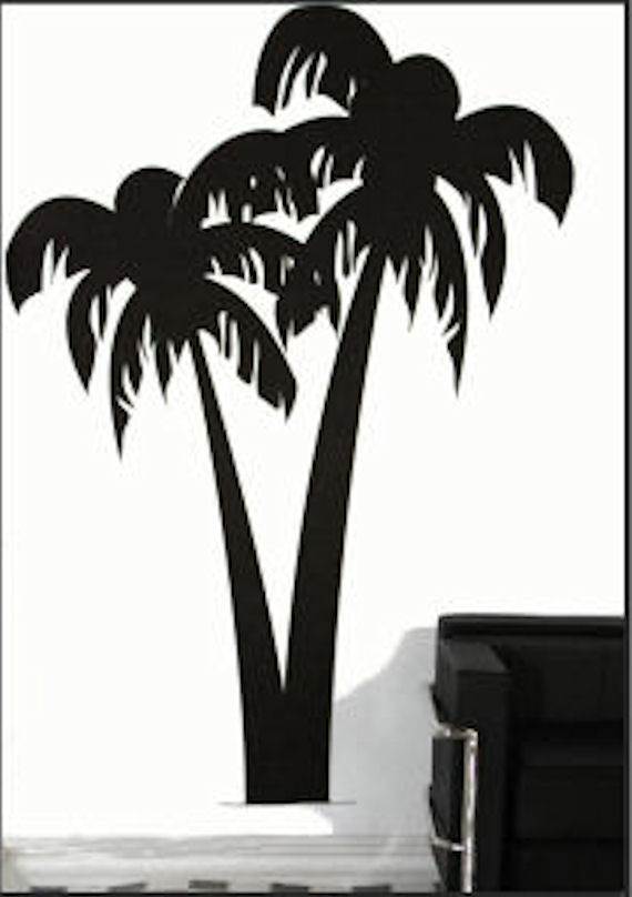 Palm Tree Traceable Mural - Wall Sticker Outlet