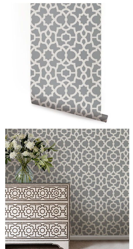 Trellis Cool Gray Peel And Stick Wallpaper