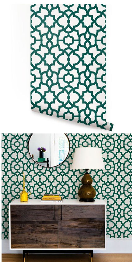 Trellis Forest Green Peel And Stick Wallpaper