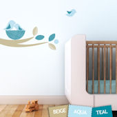 Bird Nest Fabric Decals Blue