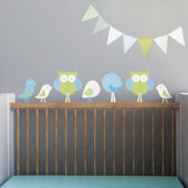 Birds and Owls Fabric Decals Blue