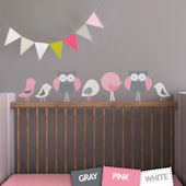 Birds and Owls Fabric Decals Pink
