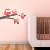 Mommy and Baby Owl Fabric Decals Pink