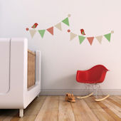 Pennants and Birds Fabric Decals Red