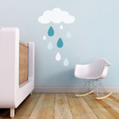 Rain Drops Fabric Decals Blue