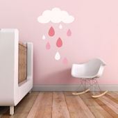 Rain Drops Fabric Decals Pink
