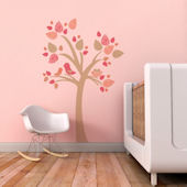 Tree With Bird Nest Fabric Decals Pink