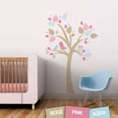 Tree With Bird Nest Fabric Decals Blue