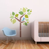 Tree and Birdie Fabric Decals Blue