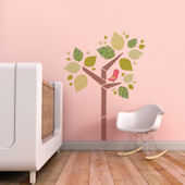 Tree and Birdie Fabric Decals Pink