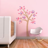 Tree With Owls Fabric Decals Pink