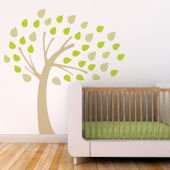 Windy Tree Fabric Decals Green