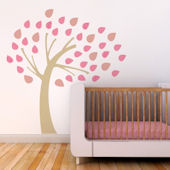 Windy Tree Fabric Decals Pink