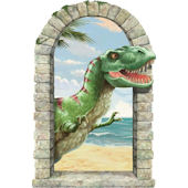 T-Rex Window Peel and Stick Wall Mural