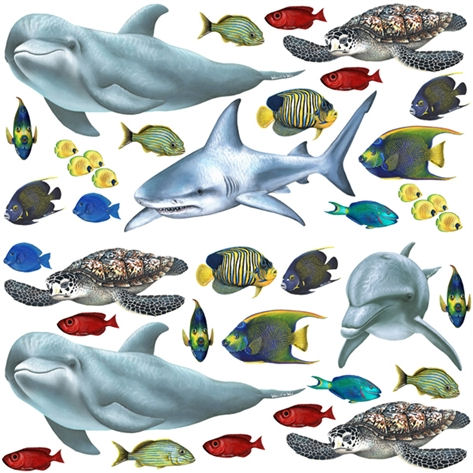 Tropical Fish and Sea Creatures Decal Collection - Wall Sticker Outlet