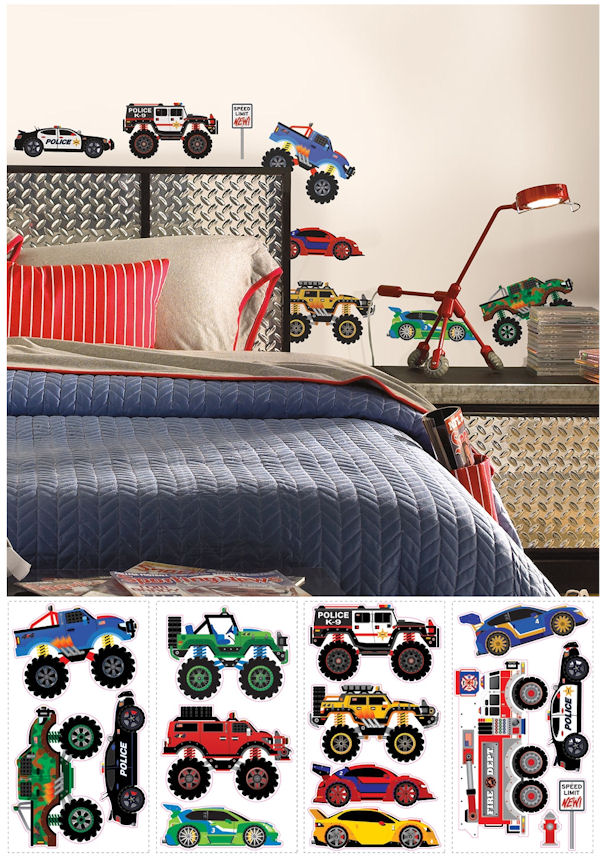 Trucks and Transportation Peel and Stick Decals - Wall Sticker Outlet