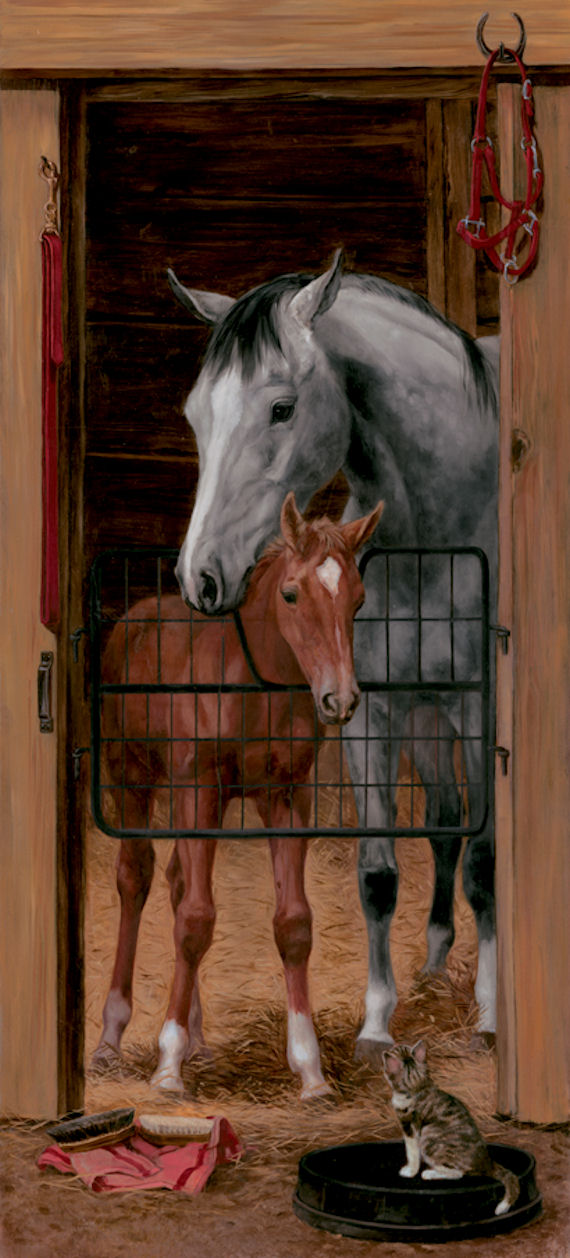 Stable door accent wall mural for Equestrian wall mural