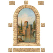 Tuscan Stone Window Peel and Stick Mural
