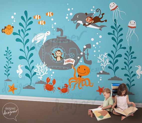 underwater world giant wall decals special sale wall sticker printing machine for sale buy wall sticker