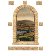 Vineyard Stone Window Peel and Stick Mural