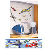 Vintage Airplanes Decal Room Package #2