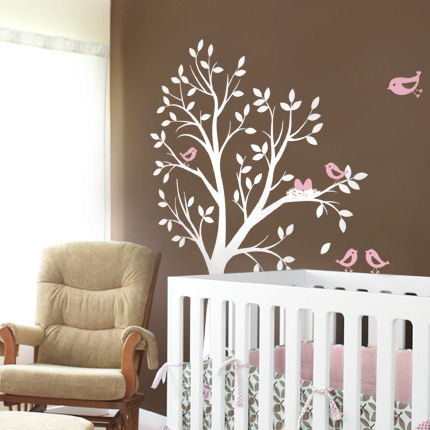 Tree with Birds and Nest Decals - Wall Sticker Outlet