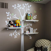 Shelving Tree with  Birds Decals