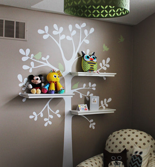 Shelving Tree with  Birds Decals - Wall Sticker Outlet