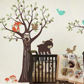 Tree with Forest Friends Decals Blue Birds