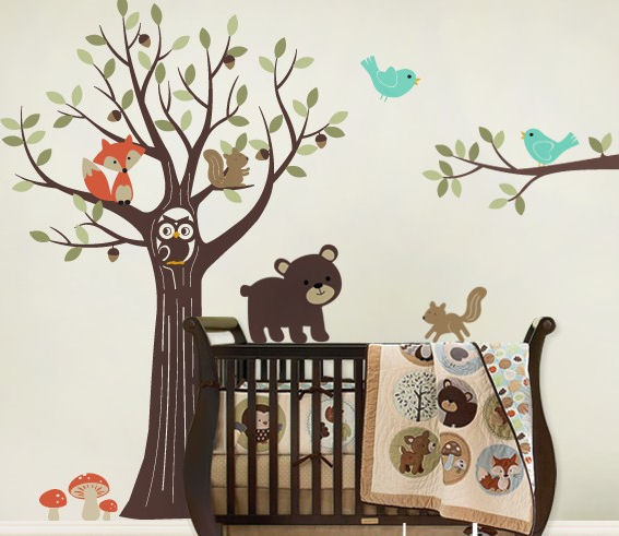Tree with Forest Friends Decals Blue Birds - Wall Sticker Outlet