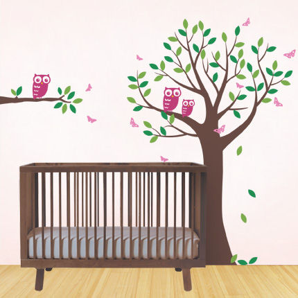 Tree with Owls and Butterflies Decals - Wall Sticker Outlet