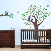 Tree with Owls and Birds Decals Blue