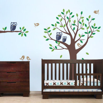 Tree with Owls and Birds Decals Blue - Wall Sticker Outlet