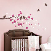 Cherry Blossom Branch with Birds Decals
