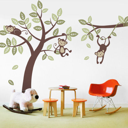 Three Monkey Tree and Branch Vine Decals - Wall Sticker Outlet