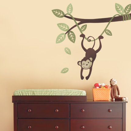 Monkey Hanging on a Branch Vine - Wall Sticker Outlet