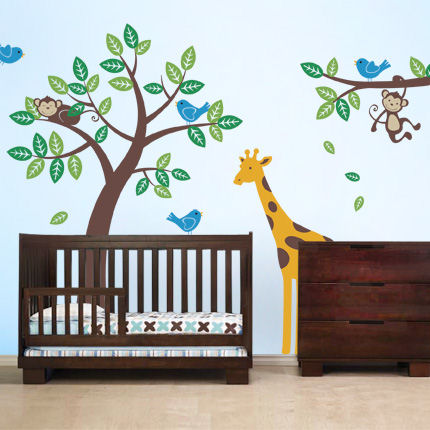Tree with Monkeys Giraffe and Birds Decals - Wall Sticker Outlet