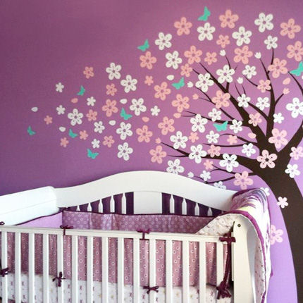 Blowing Cherry Blossom Tree - Cute Style - Wall Sticker Outlet
