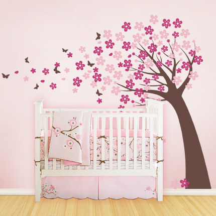 Blowing Cherry Blossom Tree Pink - Cute Style - Wall Sticker Outlet