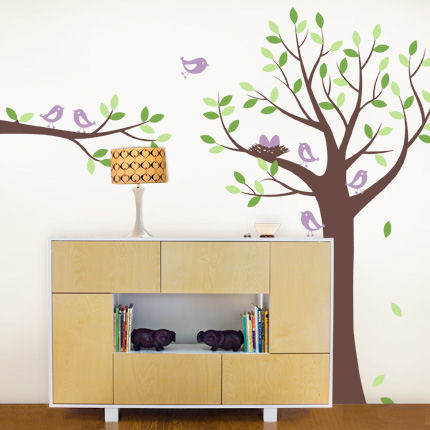 Tree with Bird Family Decals - Wall Sticker Outlet